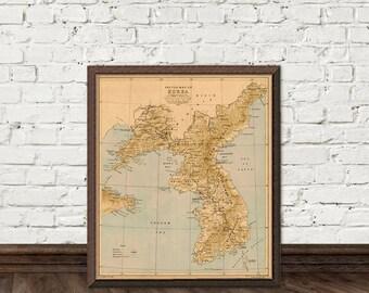 Korea map - Old map of Korea fine reproduction - Wall map of Korea