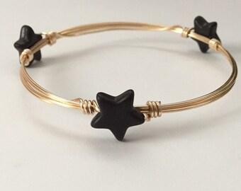 Black Star Wire Bangle Bracelet