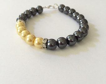 Gray and Yellow Pearl Rhinestone Bracelet