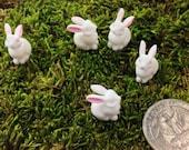 Dollhouse Miniature Bunny Rabbits / White Plastic Bunnies for Fairy Garden, Terrarium, Dollhouse Garden Pet / Tiny Animal / Diorama Wildlife