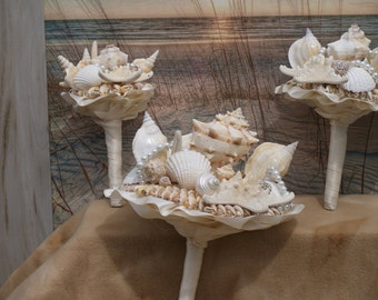 3 Piece Package Seashell  Wedding Bouquet / Destination Bouquet/  Summer Bouquet/ Beach Bouquet Made to Order