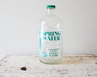 Vintage Spring Water Bottle with Lid - Green Glass Water Juice Twist Cap Bottle Mason Crystal Water Company Michigan Flint Rare Half Gallon