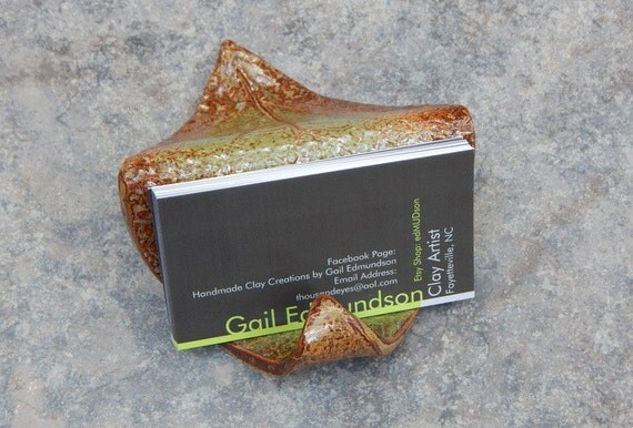 Leaf shaped pottery business card holder for Pottery business cards