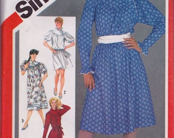 Simplicity 5800 Misses' Loose-Fitting Asymmetrical Pullover Dress in Two Lengths Pattern, UNCUT, Size 12, Retro, Vintage 1982, Casual