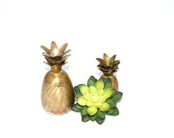 Little Brass Pineapples Set of 2 Pineapples Brass Pineapples Mini Pineapples Pineapple Bar Coastal Living Pineapples