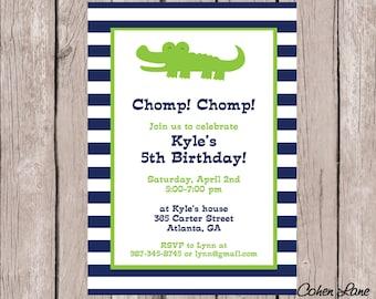 Printable Alligator Birthday Invitation.  Alligator Baby Shower Invitation.  Baby Shower Invitation.  Crocodile invite. Gator Invite.