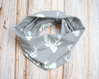 Baby Infinity Scarf- Gender Neutral Baby- Grey and Cream- Baby Scarf- Infinity Scarf