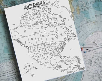 North America Map, Canada and USAWorld Travel, Holiday Gift for travelers, Gift for Wife, Gift under 100, Gift for graduate