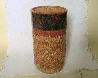 Handbuilt Stoneware Pottery Tumblers, Glasses,  16 oz, Dark Red, Dark Brown, Green Lace Textured