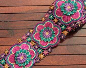 1 Yard Blue Pink Layered Floral Leafy Design Embroidered Cut Work Fabric Trim-Sari Border Trim-Crazy Quilt Red Silk Ribbon Trim By The Yard