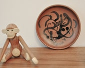 baby sale - AGG John and Helen Modernist Red Clay Rare Plate Ceramics Canadian Pottery