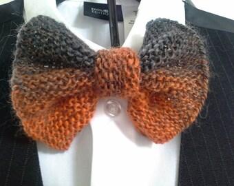 Mens Necktie - Hand Knit Bowtie Orange Rust Brown Gray Grey Boy or Men Clip on Bow Tie (One Size - Ready to Ship)
