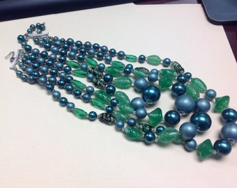 """4 Strand Vintage Necklace Pearls Glass Beads 16"""""""