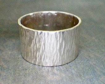 Sterling Wide Band Ring - Woodland