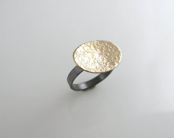 GoLD FiLLED OVAL Ring Textured Mixed Metal Sterling Patina Domed Metalwork Artisan Jewelry Gift for Her SIZE 6.5