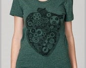 Anatomical Heart T Shirt Steampunk Gear Hand Drawn Hand Printed Womens American Apparel T Shirt Anatomy Science gift for her girlfriend
