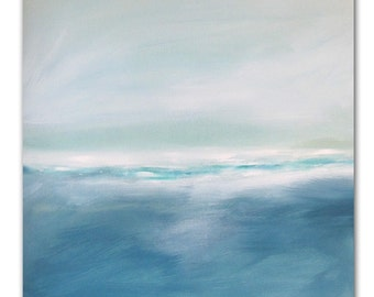 """Painting Acrylic Original, Deep Waters, Abstract Seascape- 20"""" x 20"""""""