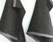Tea Towel Set Stripes Striped Kitchen Towels Linen Towel Linen Hand Towels Tea Towels Linen Dish Towel Black White Gray Towels set of 2