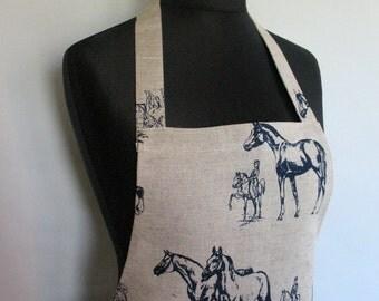Linen Kitchen Utility Apron Gardening Aprons Teachers Apron Natural Gray Horse