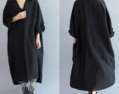 Women Loose Fitting linen Long dress/ Cotton Asymmetric gray oversized dress black loose linen long dress