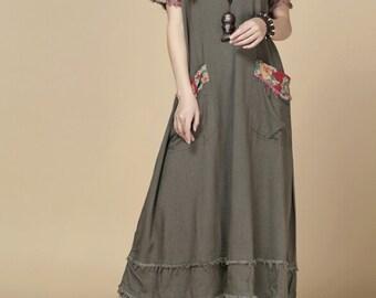 oversize Loose Maxi Dress/ Khaki loose fitting dress/ fuchsia loose fitting dress