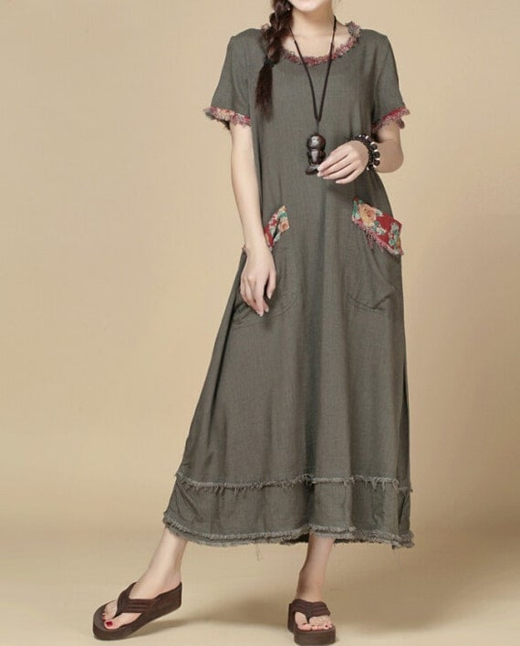 oversize Loose Maxi Dress/ Khaki loose fitting dress/ fuchsia loose fitting dress