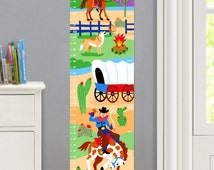 Kids Personalized Cowboy Canvas Growth Chart, Boys Bedroom Decor, High Quality Canvas Growth Chart, Nursery Wall Decor, Wild West, Rodeo