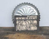 Vintage Wear - Ever Quiche Flan Set 4 Piece Set Plus Recipe Pamphlet
