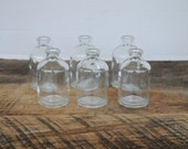 6 Vintage Glass Medicine Bottles T.C.W. Company Type 1 Round Cylinder Shaped