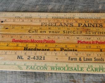 Vintage Advertising Wooden Yardsticks Assorted Mix of 7