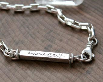 Custom Family Bracelet, Personalized Silver 4 Sided Swivel Bar Bracelet, Gift For Wife, Gift For Mom, Personalized bracelet -Connie Bracelet