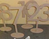 "Table Numbers 6"" Number 4"" stem Oval base Futura font Set 1-10 MDF"