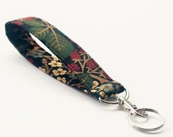 Wristlet Key chain, Fabric Key Fob With Snap, Raspberries