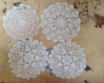 Vintage crocheted cotton doilies, set of 4