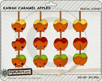 Kawaii style caramel apples for halloween or fall cute face apple clipart granny smith red delicious
