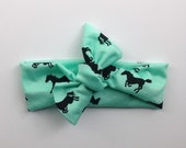 Jersey knit knotted headband- mint with black horses