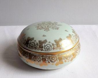 Limoges porcelain lidded trinket pot or bonbonniere in pale blue and gold