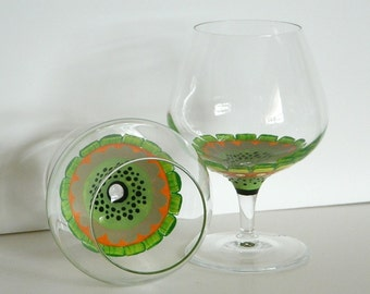 Brandy Snifters Hand Painted with Inside Green Flower Design set of two