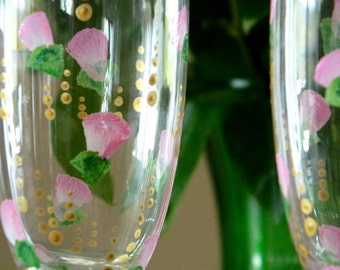 Champagne Flutes Pink Roses Golden Bubbles Hand Painted