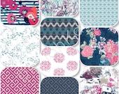 Pick Size Rag Quilt - Skopelos - Sea - King Queen Full Twin xl Throw - Navy - Fuchsia - Modern Handmade Bedding