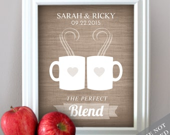 Coffee Love - Custom Wedding Date Name Print - Personalized Wedding Gift - Any Color - Bridal Shower Gift - Engagement Present - Unframed