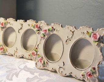 Vintage Lefton Frames, Double Photo Frames, Oval Picture Frames, Porcelain Ceramic,
