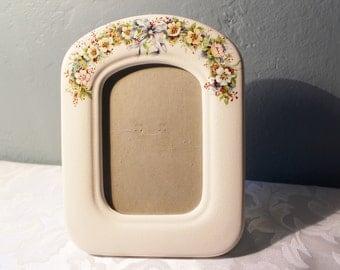 Vintage Porcelain Picture Frame Flowers on Crackled Creamy White Background