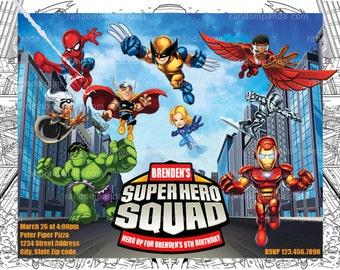 Printable Superhero Squad Invitation, Superhero Squad Birthday Party Invite