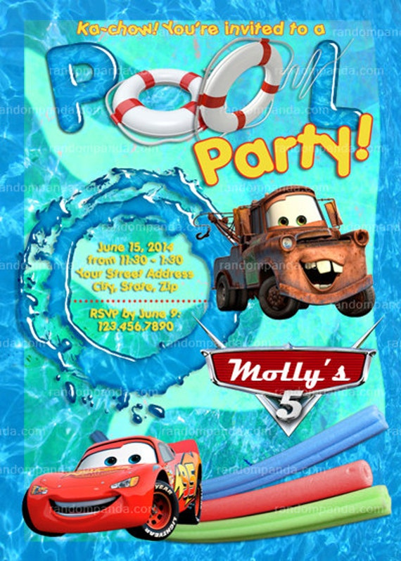 Printable Cars Swimming Pool Invitation Cars Beach Party Lightning Mcqueen Invite By Random