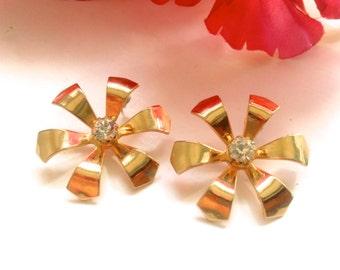 Rhinestone Flower Earrings Bridal Wedding Fashion Jewelry