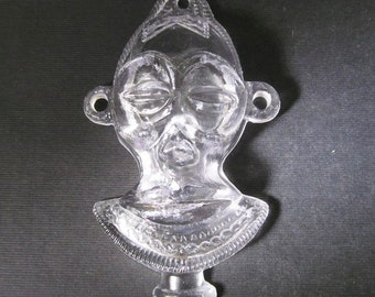 Vintage 100mm Jumbo Crystal Clear Transparent African Tribal Mask Plastic Pendant Pd736