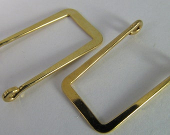 6 Vintage 26x15mm Flattened Square Goldplated Brass Settings Connectors Components Con276