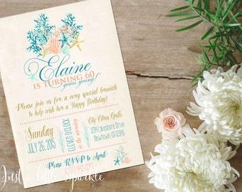 Beach invitation, Printable Nautical Invite, Shell invitation, 60th Birthday invitation, Bridal shower invite