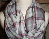 Grey Red Black Plaid Print Infinity Scarf Chunky Circle Loop Scarf-Accessories-Fall Winter Scarf-Womens Gift-Plaid Scarf